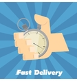 Fast delivery banner Hand points at stopwatch vector image