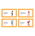 friendly people landing page template set vector image