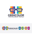 geek color logo design vector image