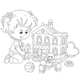 Girl with a doll and toy house vector image vector image