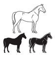 hand drawn horse set vector image vector image