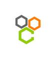 hexagon letter c vector image vector image