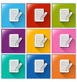 Icons with papers and pencils vector image vector image