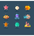 Inhabitants of Sea and Ocean Flat vector image