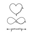 january - word with infinity symbol hand drawn vector image vector image