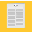 Job Newspaper icon Flat design Isolated Yellow vector image