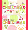 merry christmas linear festive holiday banners set vector image vector image