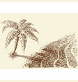 palm tree on a beach hand drawing sea shore vector image