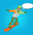 pop art man in sportswear with snowboard vector image vector image