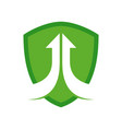 rising team arrow modern shield symbol logo design vector image vector image