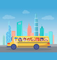school bus full of children drives through city vector image