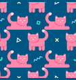 seamless abstract pattern with pink cats and vector image