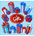 set gift boxes on a blue background vector image vector image