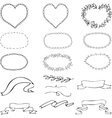 set of black-and-white frames oval shape shape of vector image vector image