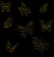 Set of golden butterflies vector image