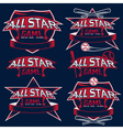Set of vintage sports all star crests with