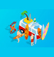 surfing clip art isometric style vector image vector image
