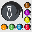 Tie icon sign Symbol on eight colored buttons vector image vector image
