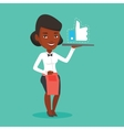 Waitress with like button vector image vector image
