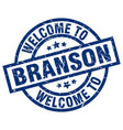 welcome to branson blue stamp vector image vector image