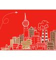 Hand-drawn modern city sketch vector image