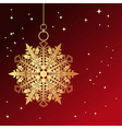 Red card with christmas snowflake vector image