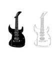 black guitar on white background vector image