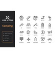 20 camping line icons vector image vector image