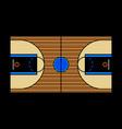 A hardwood basketball court