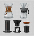 alternative coffee realistic glass flasks for vector image vector image