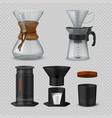 alternative coffee realistic glass flasks vector image