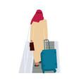 arab man in airport passenger walks with baggage vector image vector image