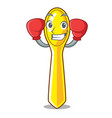 boxing character spoon plastic for kid meal vector image
