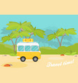 caravan trailer in jungle flat style vector image vector image
