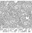 cartoon doodles diet food frame line art vector image vector image