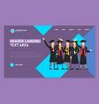 cartoon graduation of happy students landing web vector image vector image