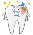 cartoon tooth mascot feel baddental caries vector image vector image