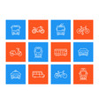 city transport linear icons vector image
