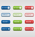 Collection of colored rectangular buttons vector image vector image
