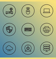 computer icons line style set with mouse notebook vector image vector image