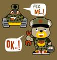 cute little bear military mechanic cartoon vector image vector image