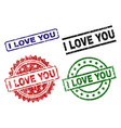 damaged textured i love you seal stamps vector image