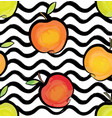 fruit wave seamless pattern with apple food vector image vector image