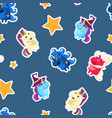 funny cartoon magic unicorns seamless pattern vector image