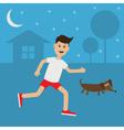 Funny cartoon running guy Dachshund dog Night vector image