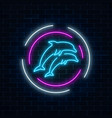 glowing neon sign of two jumping dolphins in vector image vector image