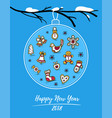 happy new year 2018 card with gingerbreads vector image vector image