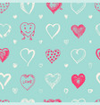 hearts seamless pattern doodle valentine love vector image vector image