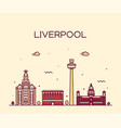 liverpool city skyline north west england vector image vector image