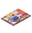 low poly isometric city block vector image